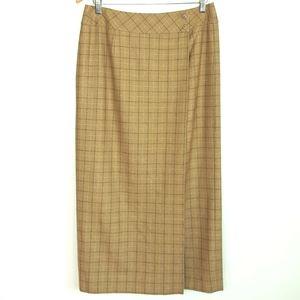Liz Claiborne Wool Midi Wrap Skirt Tan Plaid 10